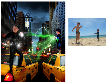 Superheroes Magical Photo Portrait - this theme is ideal for any adventurous little boy who dreams of having Superpowers!