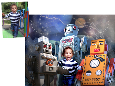 My Robot Friends Magical Photo portrait - Perfect background for any little boy!
