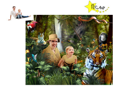 Jungle Trekking Magical Photo Portrait - A fun theme for Fathers Day, togged up in their safari gear daddy and children go exploring the Jungle!