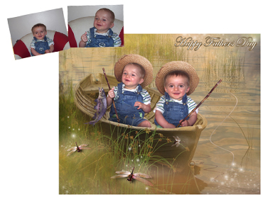 Gone Fishing Magical Photo portrait - A great theme for Fathers Day, can have children and dad in boat or just children or Dad!