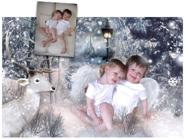 Narnia with reindeer Magical Portrait - A wonderfully fun enchanting background. The children will LOVE this one! - Perfect for a Unique Christmas card greeting!