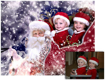 Santas Sleigh Magical Portrait - A wonderfully fun enchanting background. The children will LOVE this one! Perfect for a Unique Christmas card greeting!