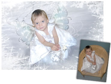 The Snow Fairy Magical Portrait - A wonderfully enchanting background. - Perfect for a Unique Christmas card greeting!
