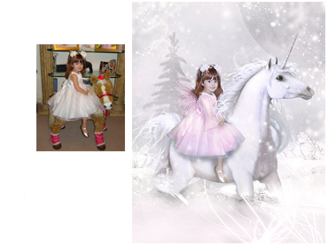 Winter Unicorn Magical Photo portrait - Perfect for any little girl who loves Unicorns and being enchanted - Perfect for a Unique Christmas card greeting!