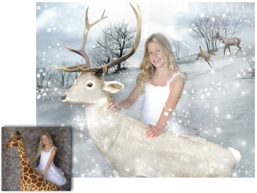 Among The Reindeer (white) Magical Portrait - A wonderfully fun enchanting background. The children will LOVE this one! - Perfect for a Unique Christmas card greeting!